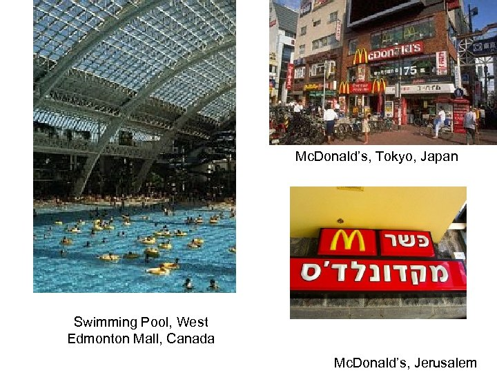Mc. Donald's, Tokyo, Japan Swimming Pool, West Edmonton Mall, Canada Mc. Donald's, Jerusalem