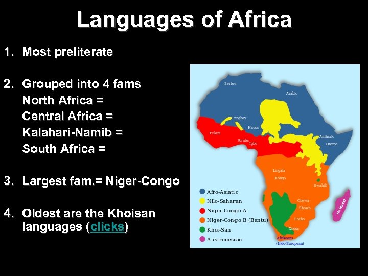 Languages of Africa 1. Most preliterate 2. Grouped into 4 fams North Africa =