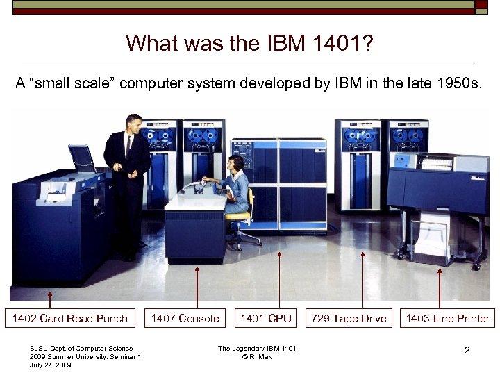 The Legendary IBM 1401 A Major Milestone in