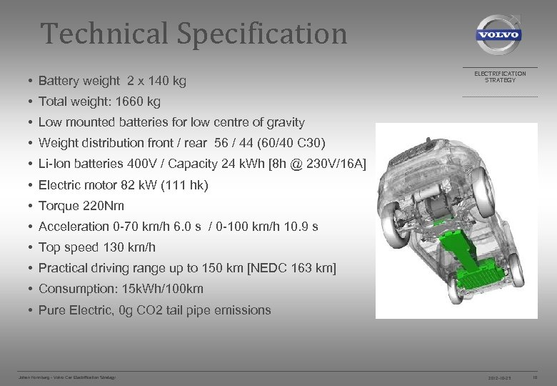 Technical Specification • Battery weight 2 x 140 kg ELECTRIFICATION STRATEGY • Total weight: