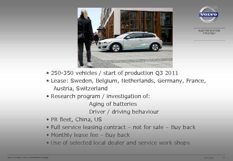 ELECTRIFICATION STRATEGY • 250 -350 vehicles / start of production Q 3 2011 •