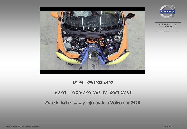 ELECTRIFICATION STRATEGY Drive Towards Zero Vision : To develop cars that don't crash. Zero