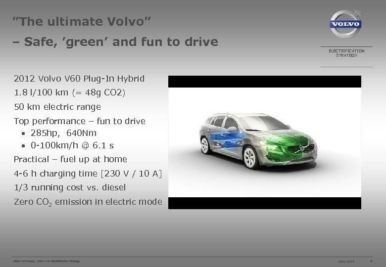 """""""The ultimate Volvo"""" – Safe, 'green' and fun to drive ELECTRIFICATION STRATEGY 2012 Volvo"""