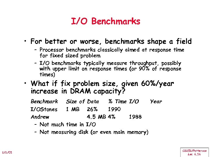 I/O Benchmarks • For better or worse, benchmarks shape a field – Processor benchmarks