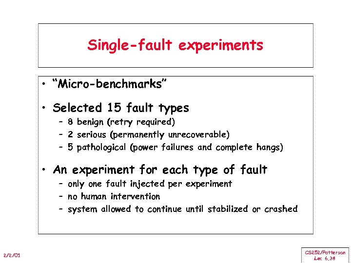 """Single-fault experiments • """"Micro-benchmarks"""" • Selected 15 fault types – 8 benign (retry required)"""
