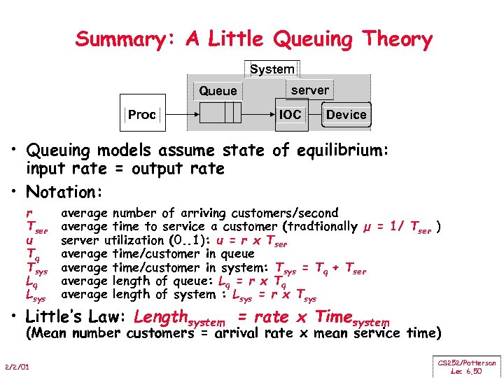 Summary: A Little Queuing Theory System Queue Proc server IOC Device • Queuing models