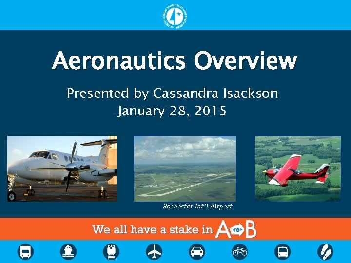 Aeronautics Overview Presented by Cassandra Isackson January 28, 2015 Rochester Int'l Airport