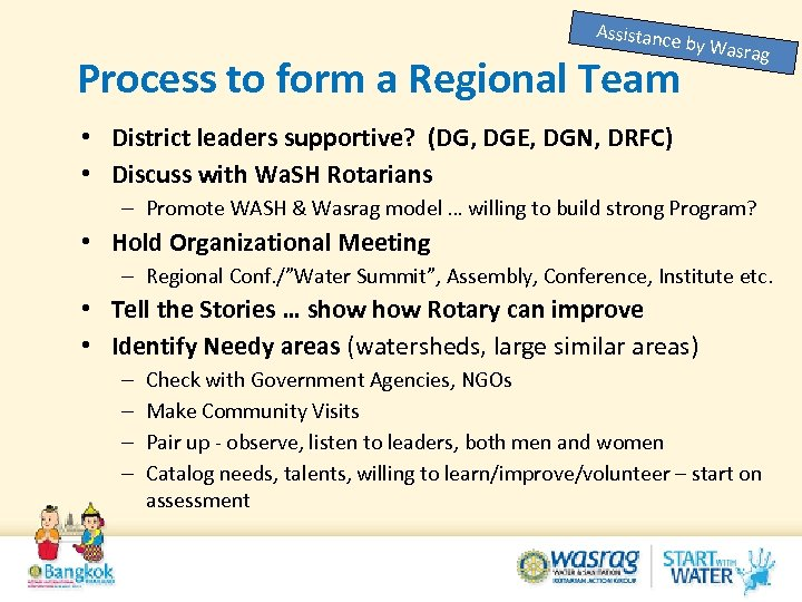 Assistanc e by Was Process to form a Regional Team rag • District leaders