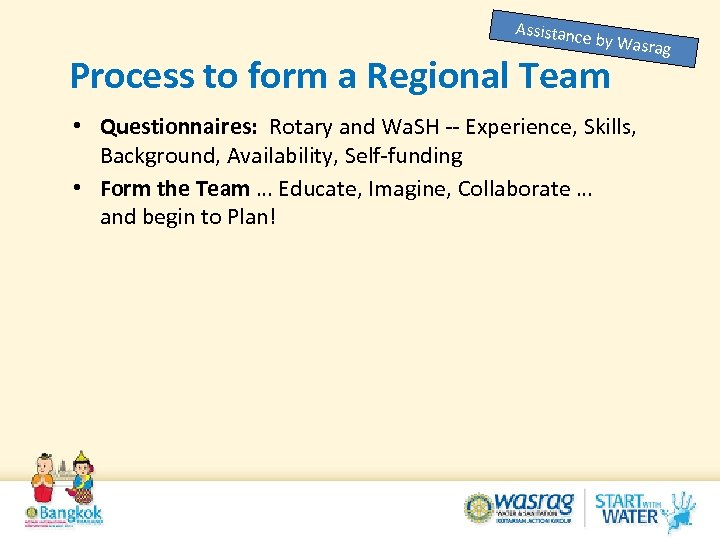 Assistanc e by Was Process to form a Regional Team • Questionnaires: Rotary and