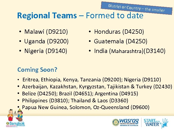 District or Cou ntry – the sma ll Regional Teams – Formed to date