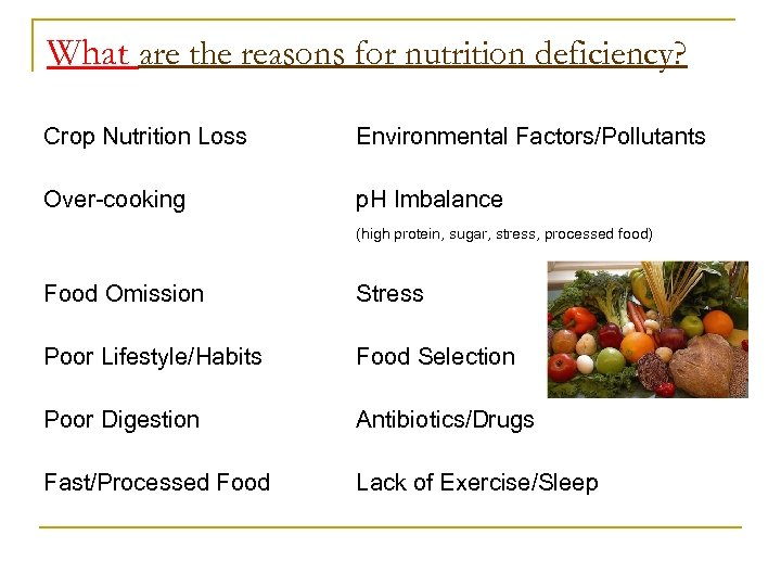 What are the reasons for nutrition deficiency? Crop Nutrition Loss Environmental Factors/Pollutants Over-cooking p.