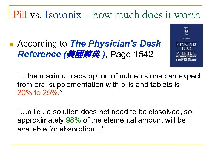 Pill vs. Isotonix – how much does it worth n According to The Physician's
