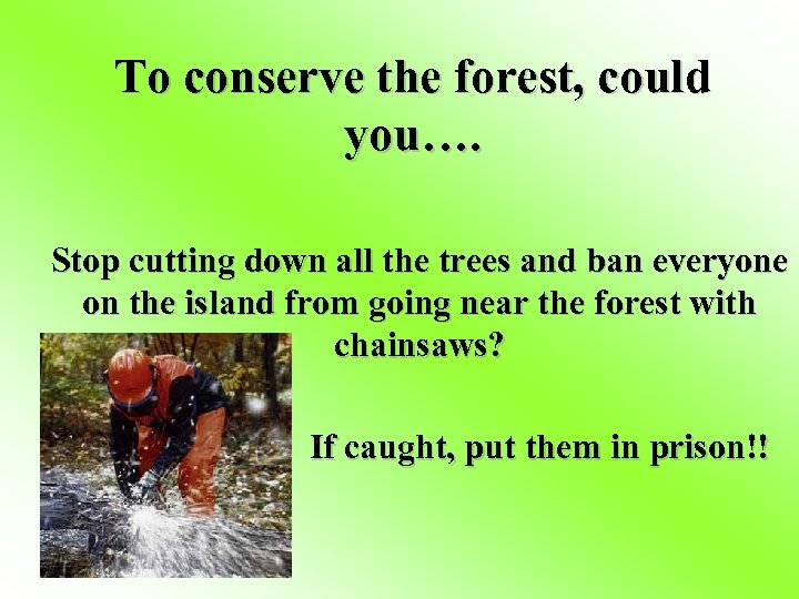 To conserve the forest, could you…. Stop cutting down all the trees and ban