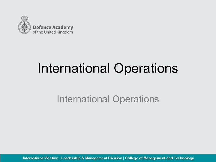 International Operations International Section | Leadership & Management Division | College of Management and