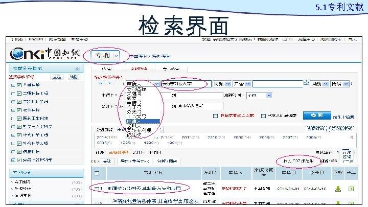 检 索界面 5. 1专利文献