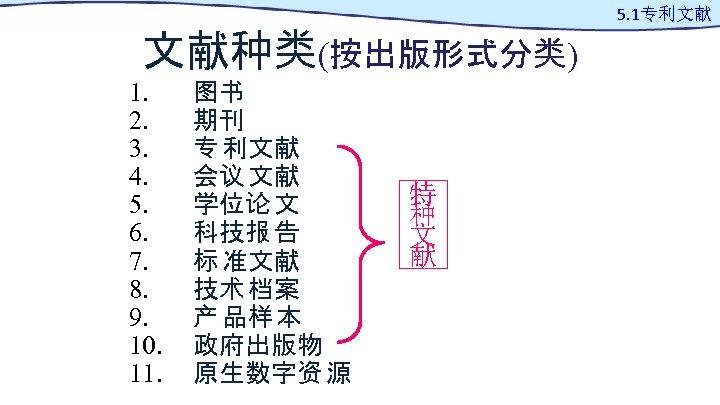文献种类(按出版形式分类) 1. 2. 3. 4. 5. 6. 7. 8. 9. 10. 11. 图书 期刊
