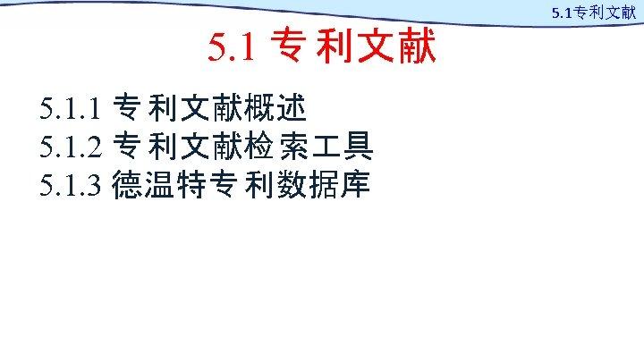 5. 1 专 利文献 5. 1. 1 专 利文献概述 5. 1. 2 专 利文献检