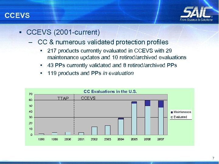 CCEVS § CCEVS (2001 -current) – CC & numerous validated protection profiles • 217