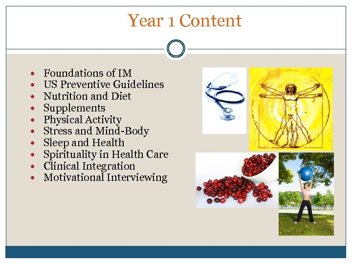 Year 1 Content Foundations of IM US Preventive Guidelines Nutrition and Diet Supplements Physical