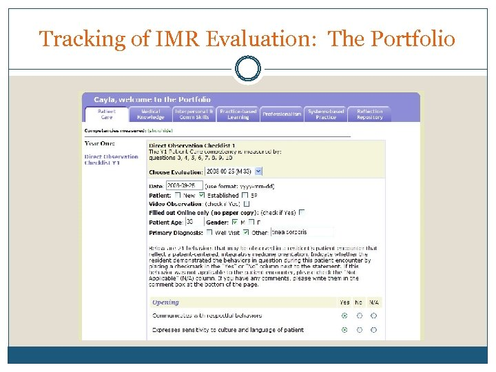 Tracking of IMR Evaluation: The Portfolio