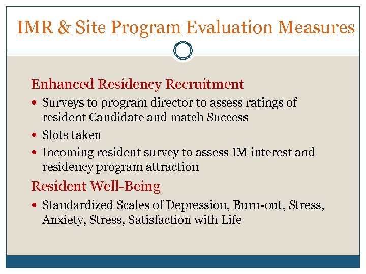 IMR & Site Program Evaluation Measures Enhanced Residency Recruitment Surveys to program director to