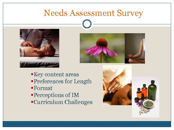Needs Assessment Survey • Key content areas • Preferences for Length • Format •