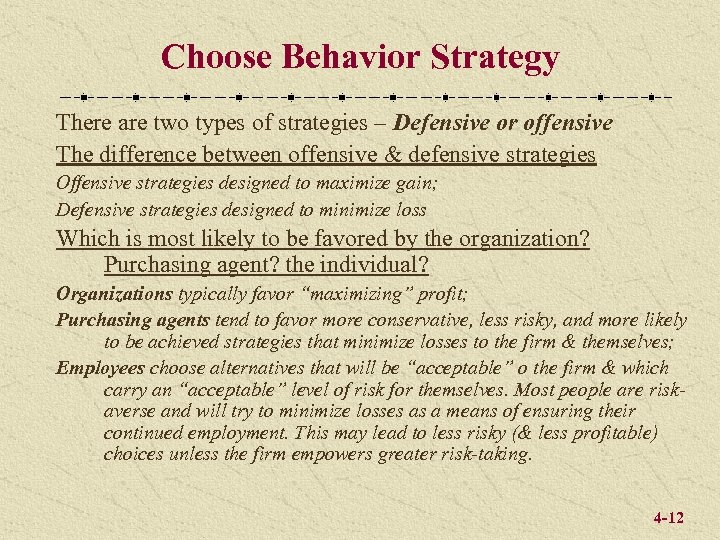 Choose Behavior Strategy There are two types of strategies – Defensive or offensive The