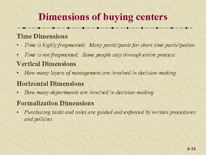 Dimensions of buying centers Time Dimensions • Time is highly fragmented: Many participants for