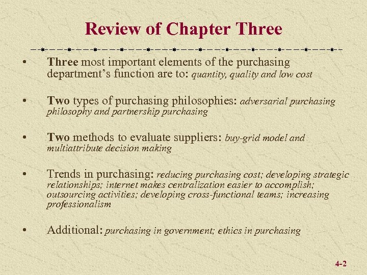 Review of Chapter Three • Three most important elements of the purchasing department's function