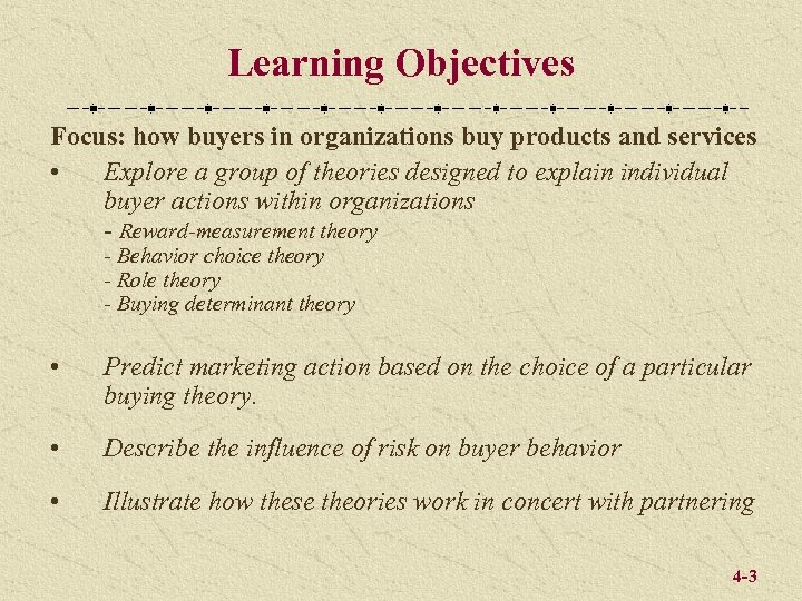 Learning Objectives Focus: how buyers in organizations buy products and services • Explore a