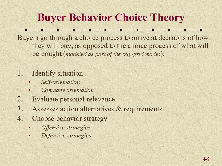 Buyer Behavior Choice Theory Buyers go through a choice process to arrive at decisions