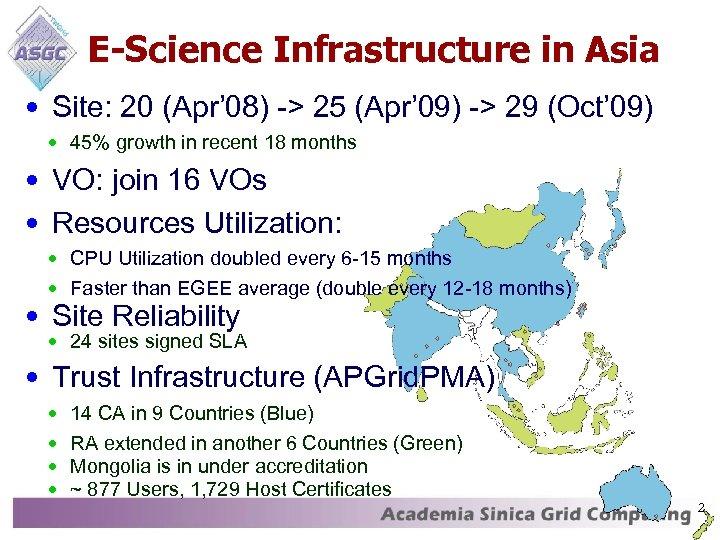 E-Science Infrastructure in Asia • Site: 20 (Apr' 08) -> 25 (Apr' 09) ->