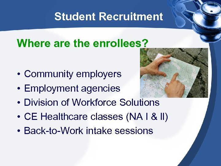 Student Recruitment Where are the enrollees? • • • Community employers Employment agencies Division