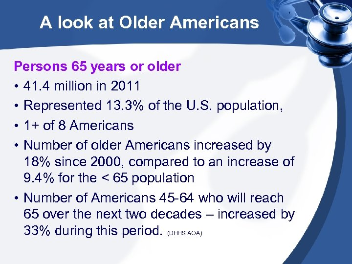 A look at Older Americans Persons 65 years or older • 41. 4 million