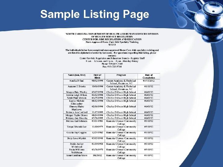 Sample Listing Page