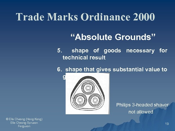 """Trade Marks Ordinance 2000 """"Absolute Grounds"""" 5. shape of goods necessary for technical result"""