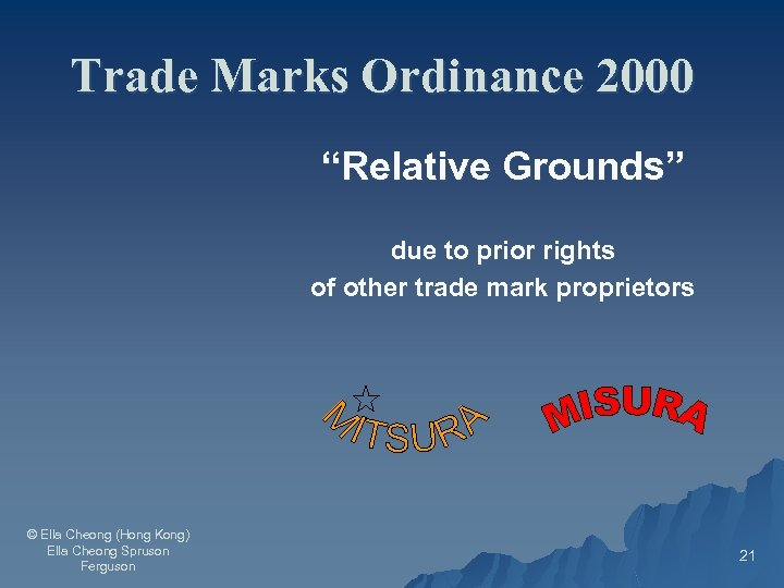 """Trade Marks Ordinance 2000 """"Relative Grounds"""" due to prior rights of other trade mark"""