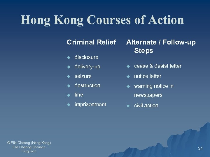 Hong Kong Courses of Action Criminal Relief Alternate / Follow-up Steps u u delivery-up