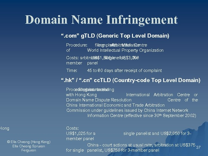 """Domain Name Infringement """". com"""" g. TLD (Generic Top Level Domain) Procedure: filing with"""