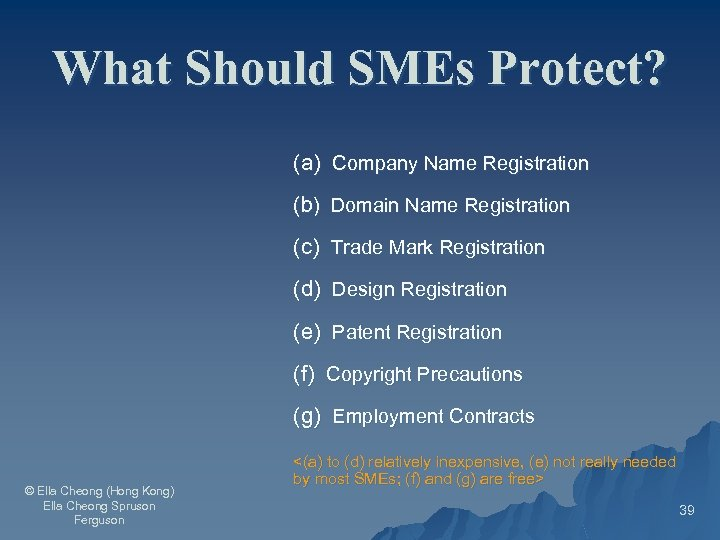 What Should SMEs Protect? (a) Company Name Registration (b) Domain Name Registration (c) Trade