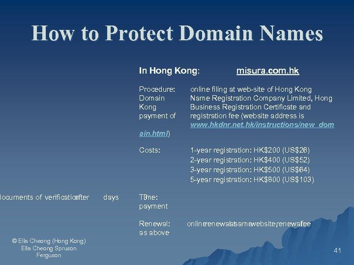 How to Protect Domain Names In Hong Kong: Procedure: Domain Kong payment of misura.
