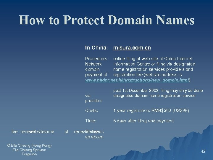 How to Protect Domain Names In China: misura. com. cn Procedure: online filing at