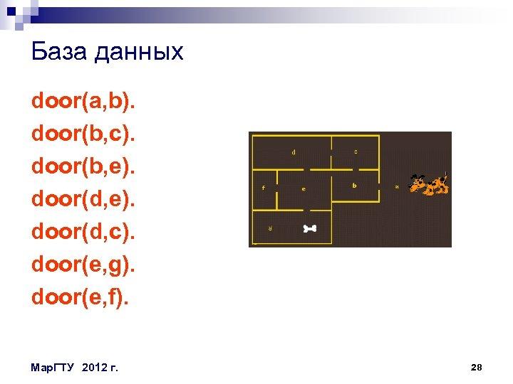 База данных door(a, b). door(b, c). door(b, e). door(d, c). door(e, g). door(e, f).
