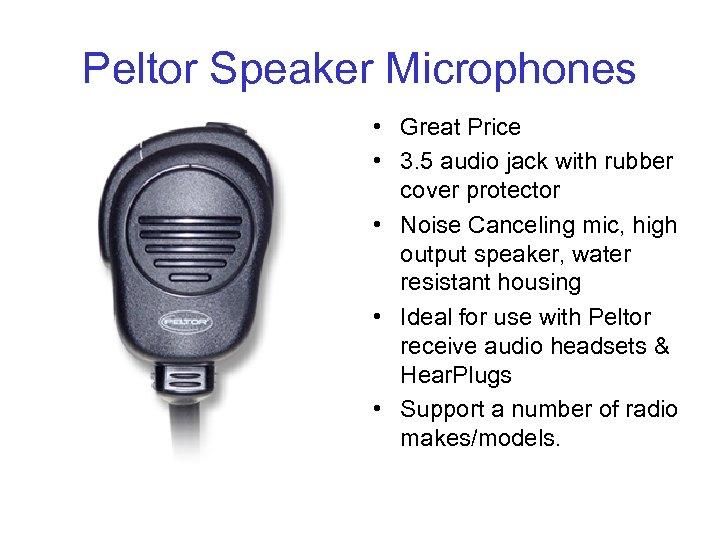 Peltor Speaker Microphones • Great Price • 3. 5 audio jack with rubber cover
