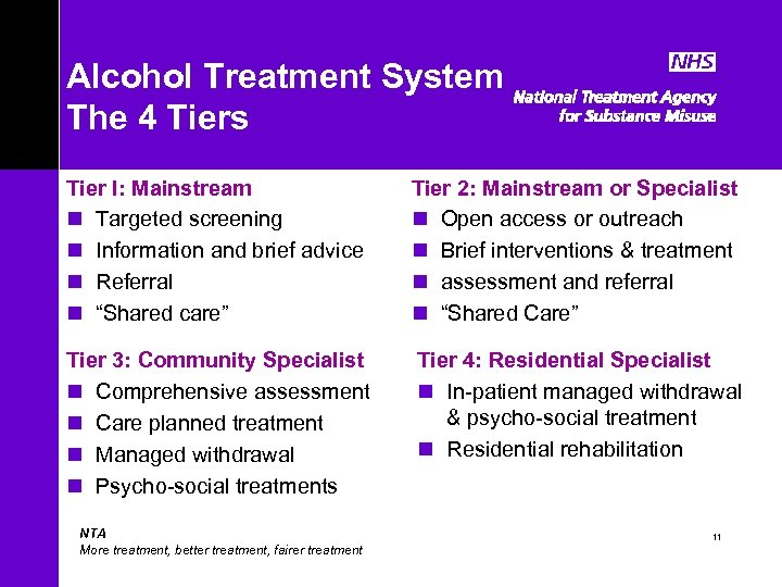 Alcohol Treatment System The 4 Tiers Tier I: Mainstream n Targeted screening n Information