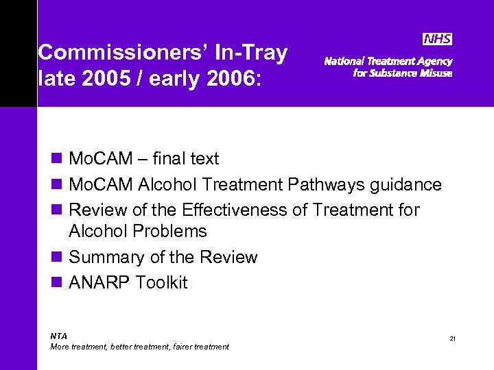Commissioners' In-Tray late 2005 / early 2006: n Mo. CAM – final text n