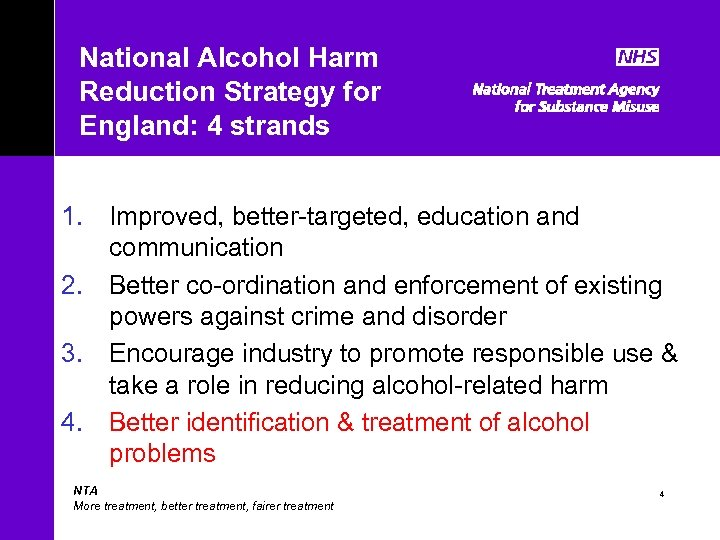 National Alcohol Harm Reduction Strategy for England: 4 strands 1. Improved, better-targeted, education and