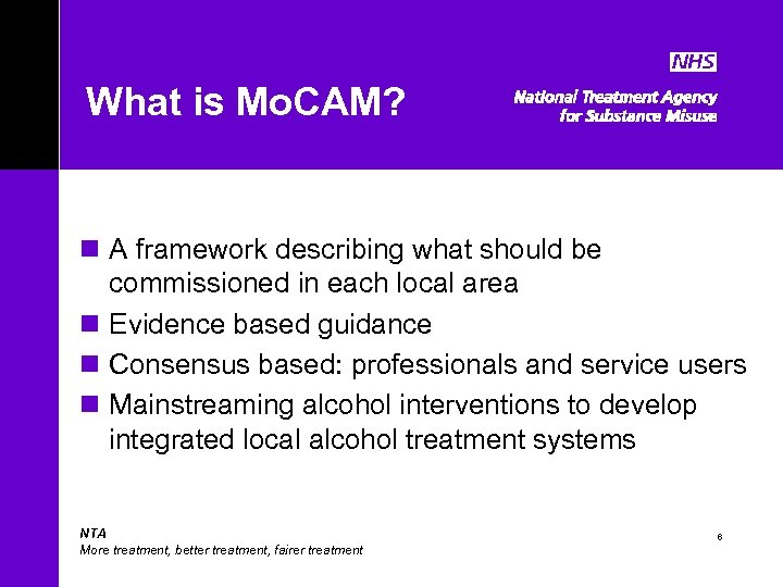 What is Mo. CAM? n A framework describing what should be commissioned in each