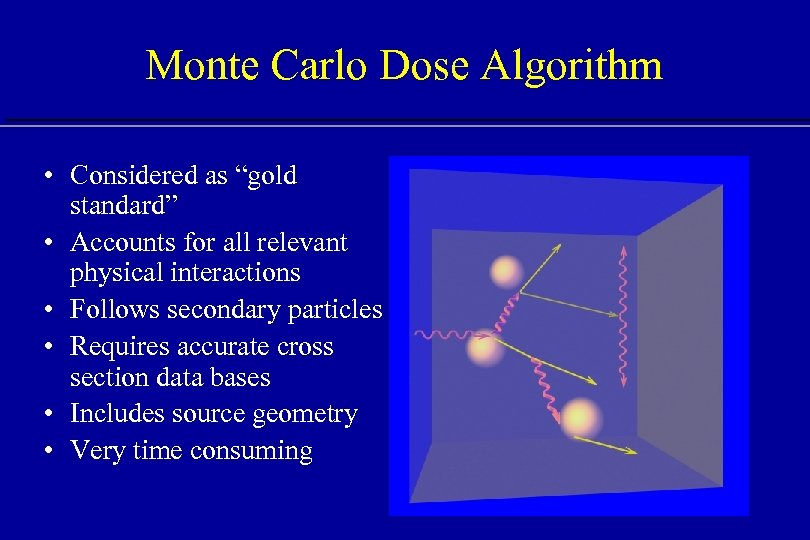 """Monte Carlo Dose Algorithm • Considered as """"gold standard"""" • Accounts for all relevant"""