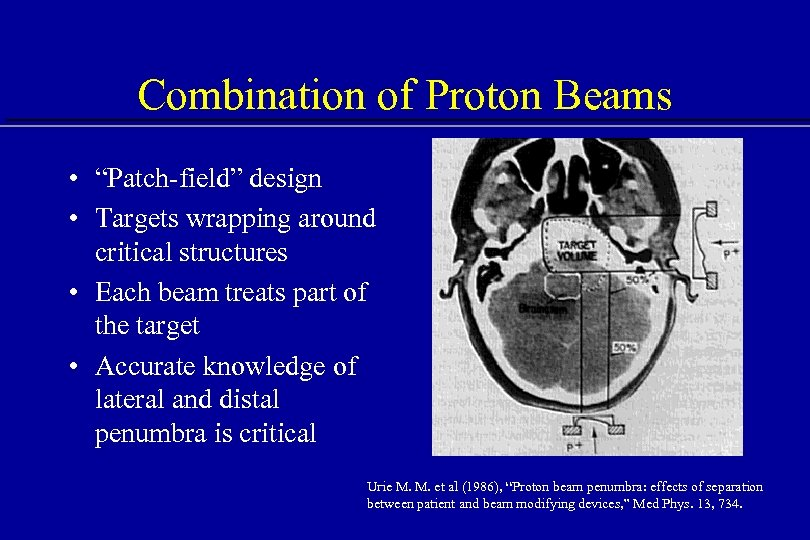 """Combination of Proton Beams • """"Patch-field"""" design • Targets wrapping around critical structures •"""